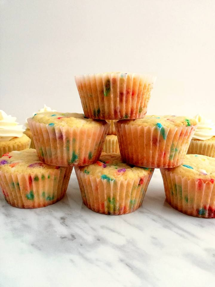 funfetti cupcakes stacked