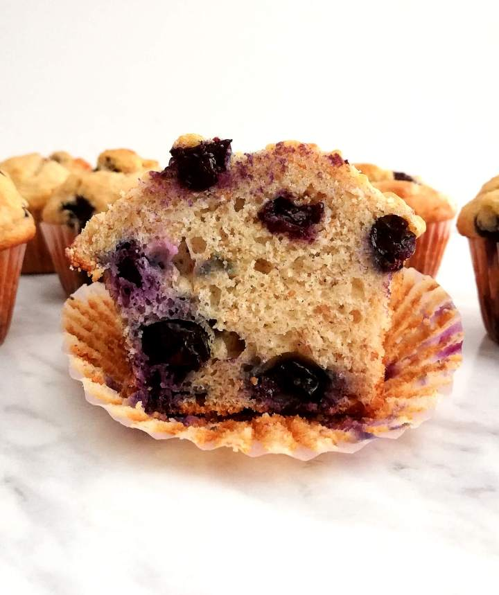 healthy blueberry banana muffins halved head on photo