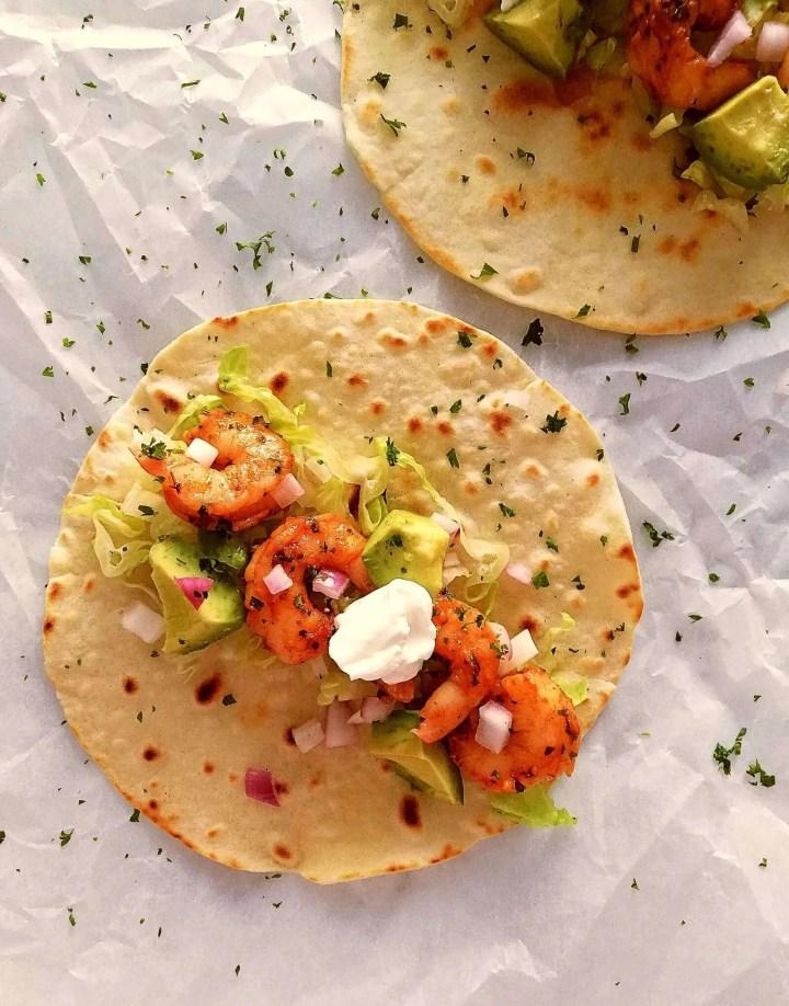 shrimp tacos 2 prepared close up overhead (1) (1)