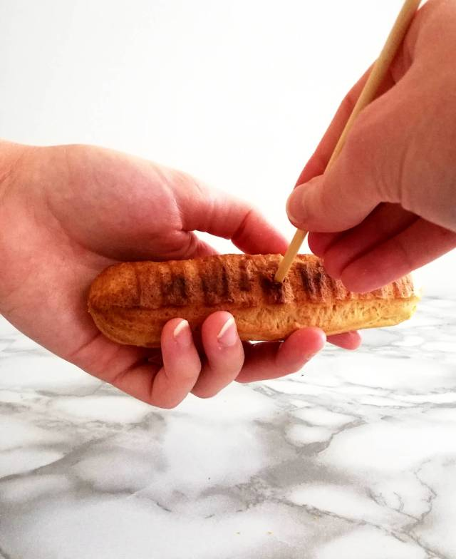 éclairs poking holes in bottom