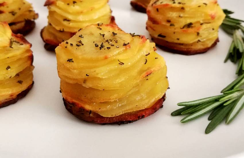 potato stacks on plate side view