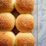 baked hamburger buns in baking dish close up overhead