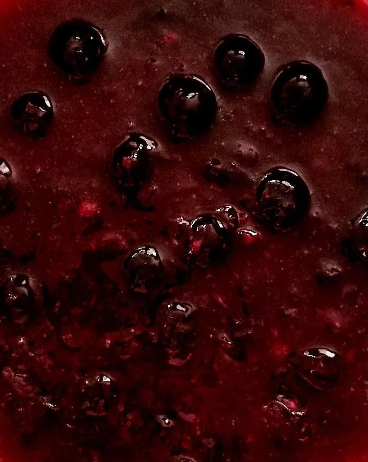 blueberry sauce close up