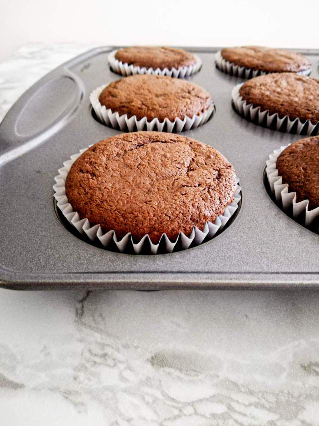 chocolate espresso cupcakes baked in cupcake tin