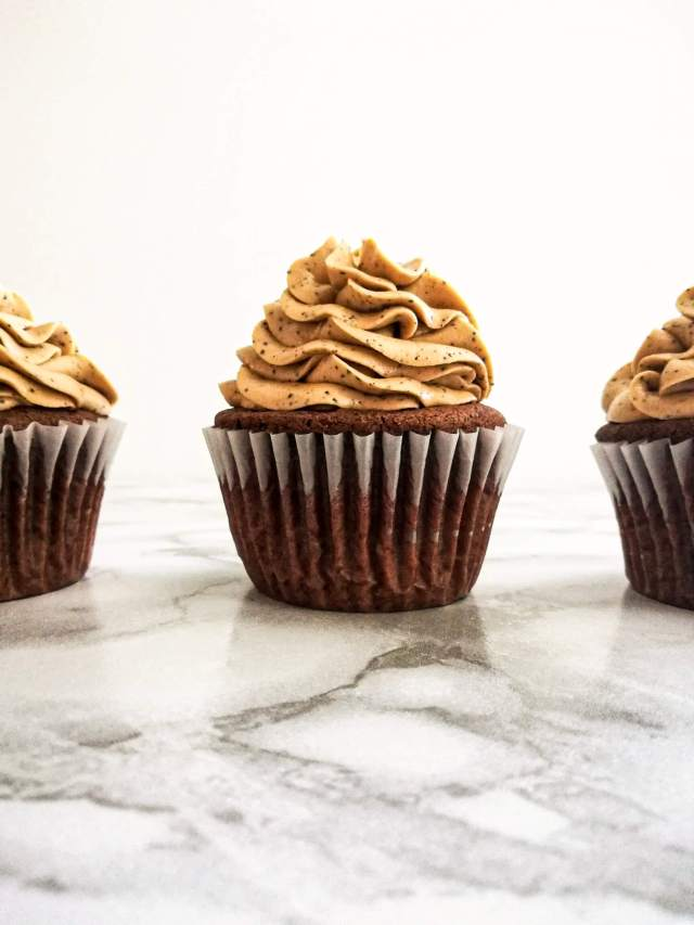 chocolate espresso cupcakes frosted