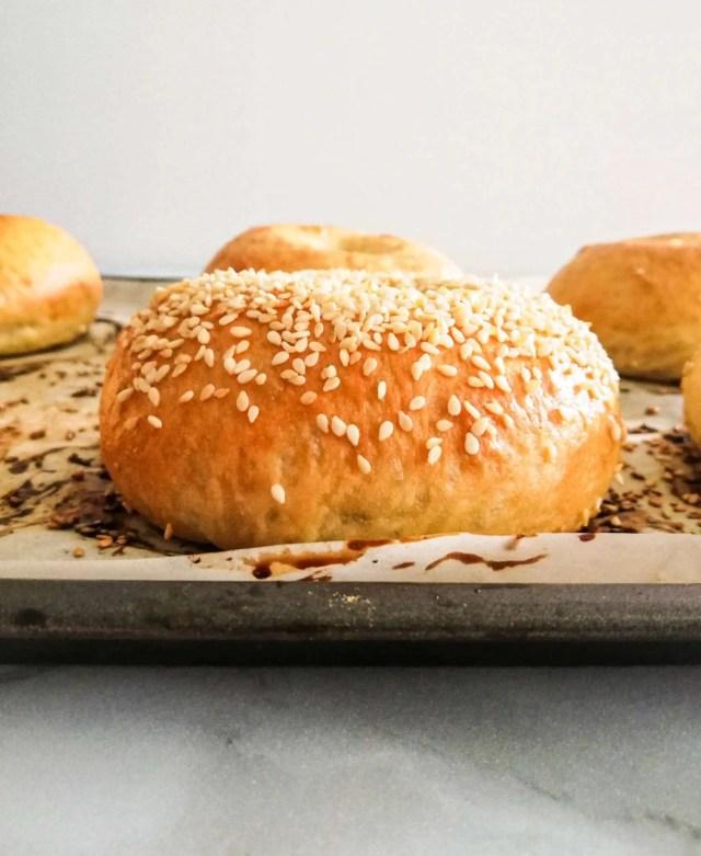 homemade bagels sesame bagel side view