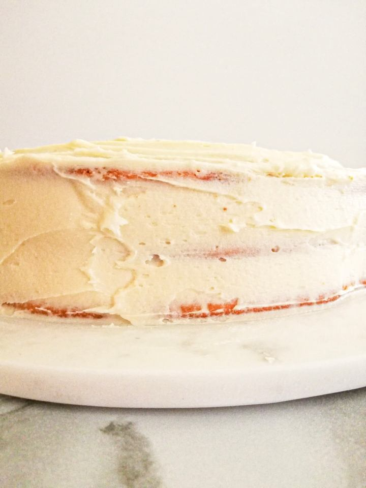 vanilla birthday cake without a cake pan frosted