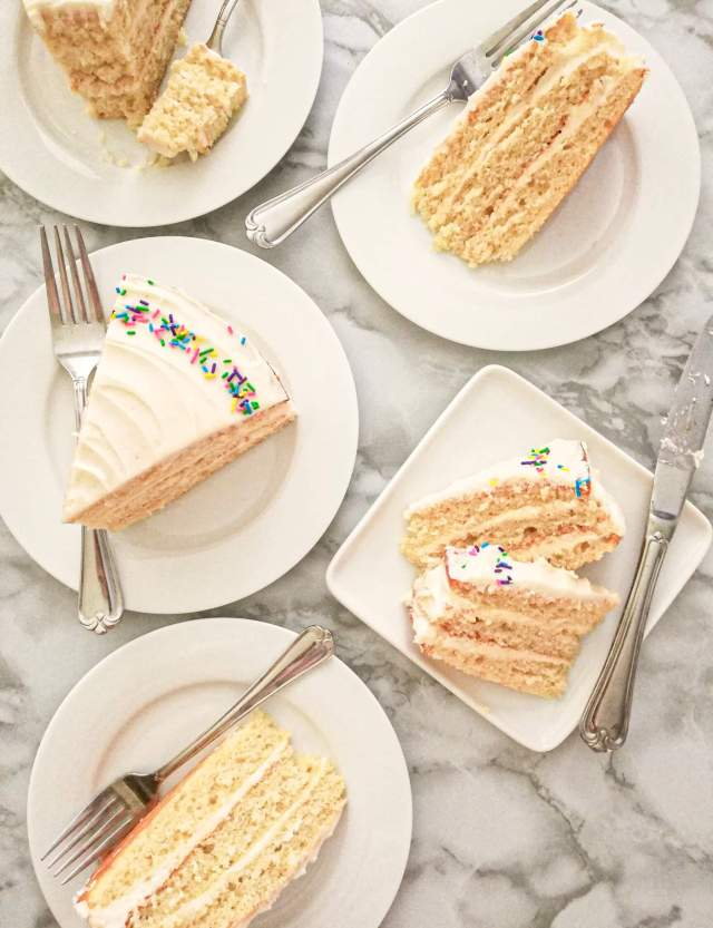 vanilla birthday cake without a cake pan slices in plates