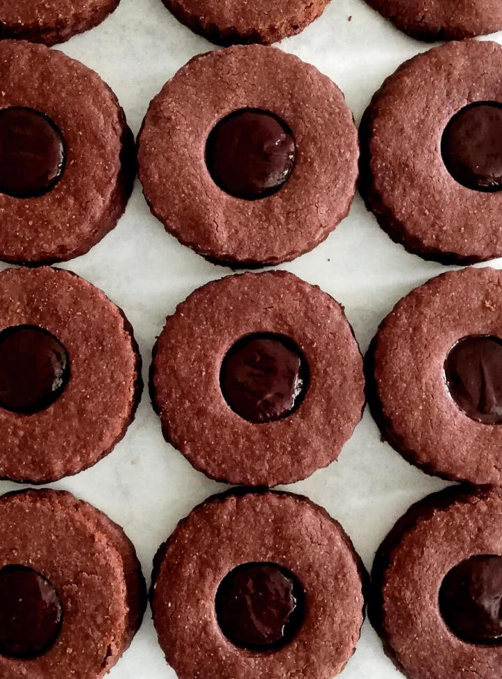double chocolate sandwich cookies filled and assembled overhead image