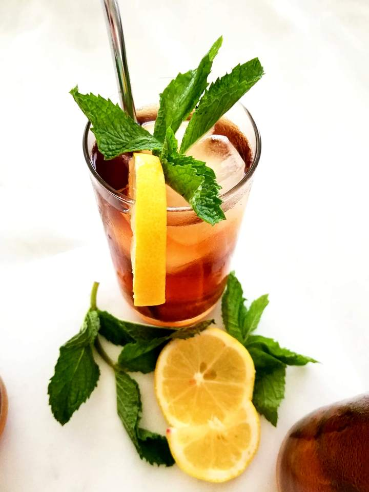 iced tea in glass side view