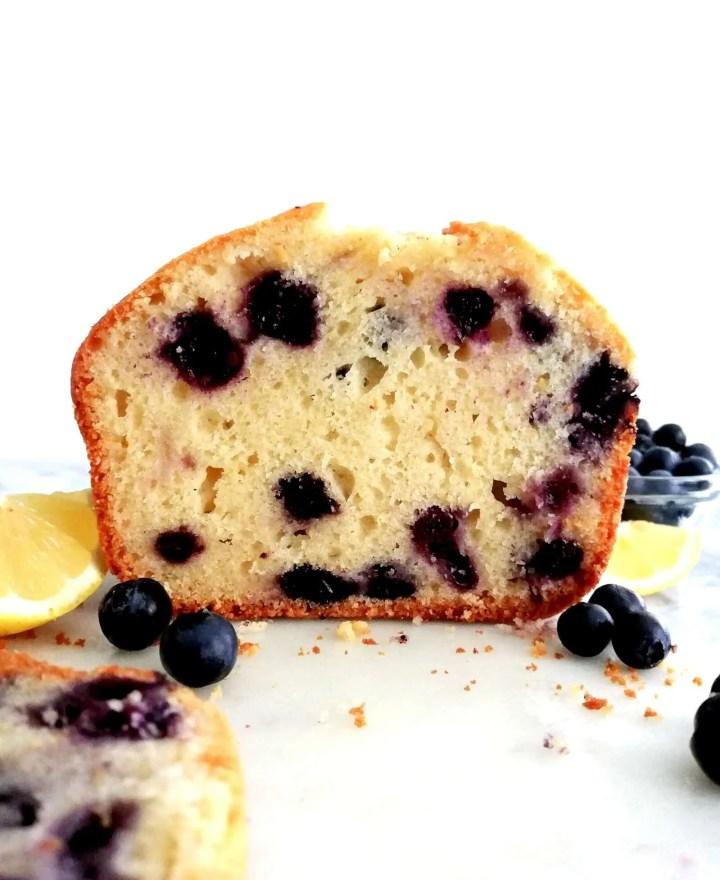 lemon blueberry quick bread sliced head on view