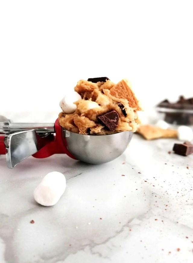 s'mores cookie batter in ice cream scoop