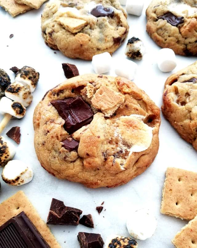s'mores cookies on parchment paper side view