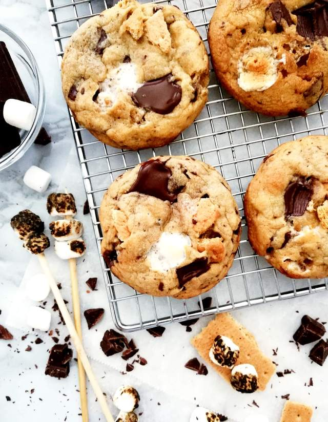 s'mores cookies on wire rack overhead image