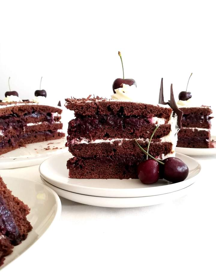 black forest cake slice in plate head on view 2