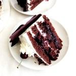 black forest cake slice in plate