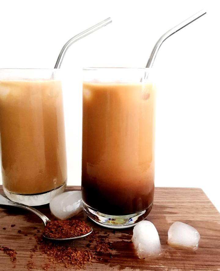 iced coffee in cups head on view