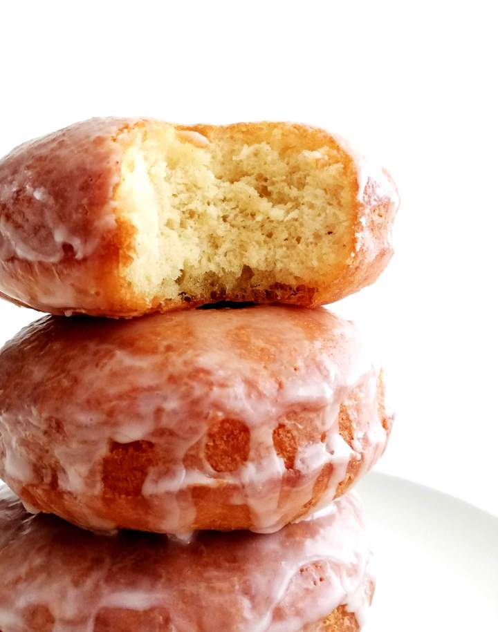 sour cream glazed donuts inside view of texture
