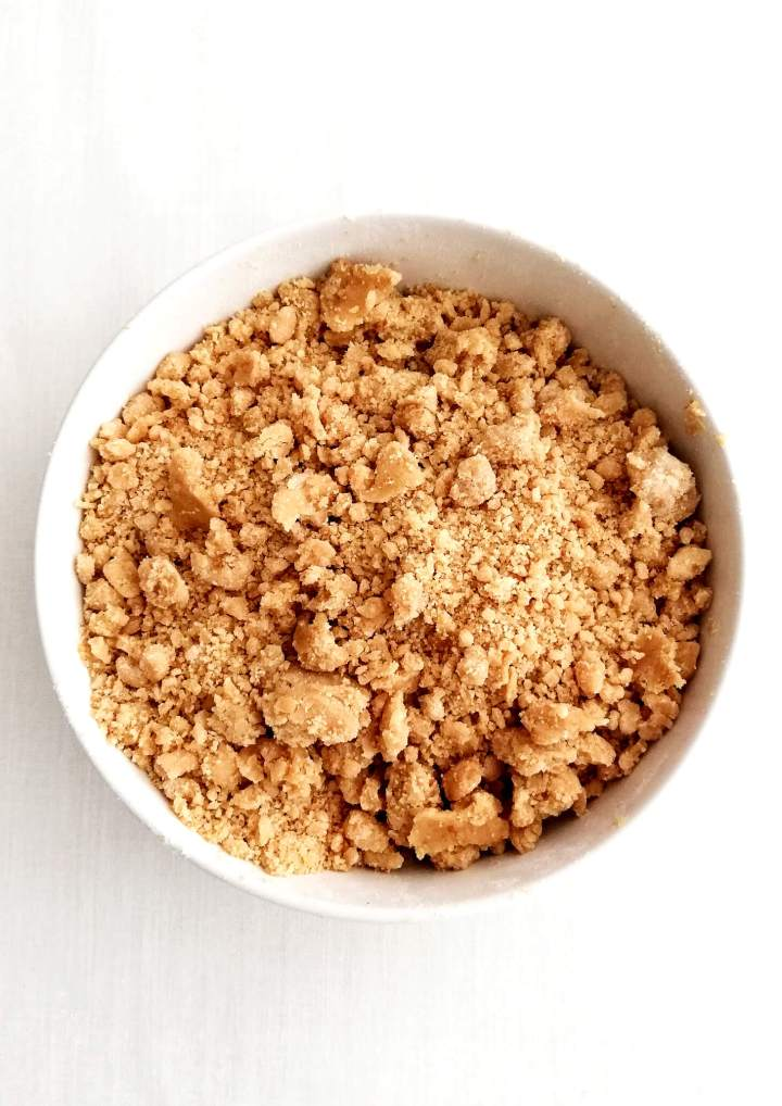 streusel topping in bowl overhead