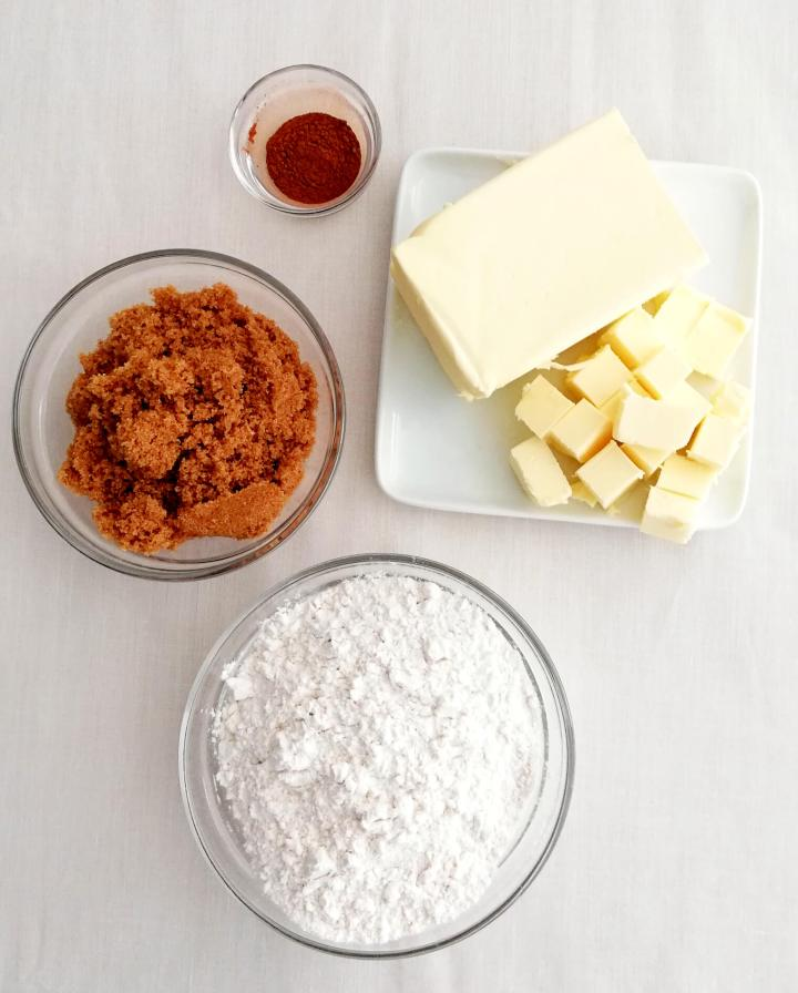 streusel topping ingredients in bowls
