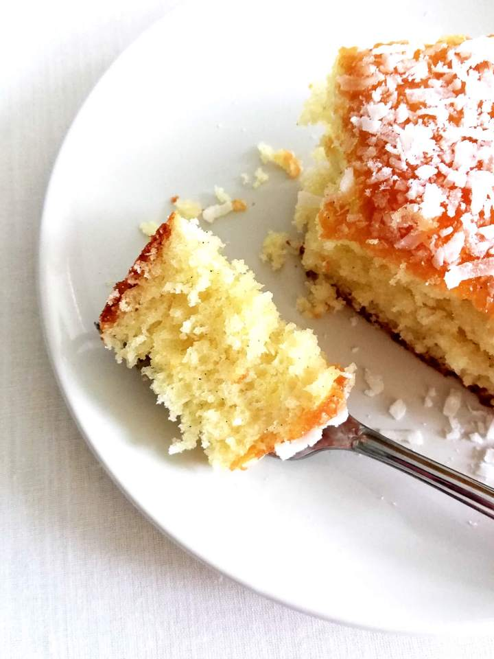 coconut jam cake piece of cake on fork