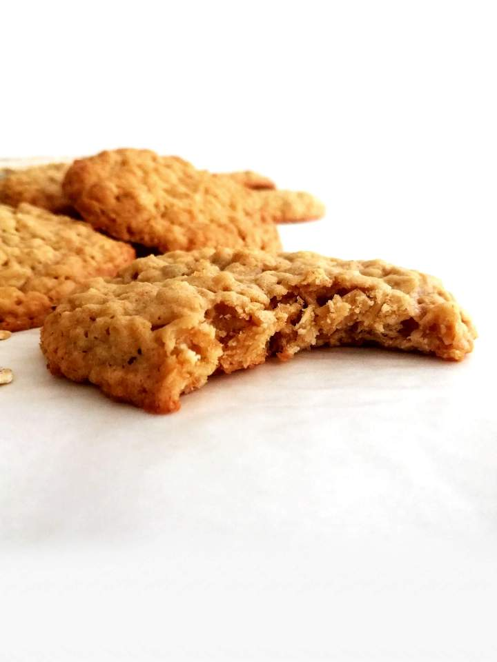 oatmeal cookies bitten head on view