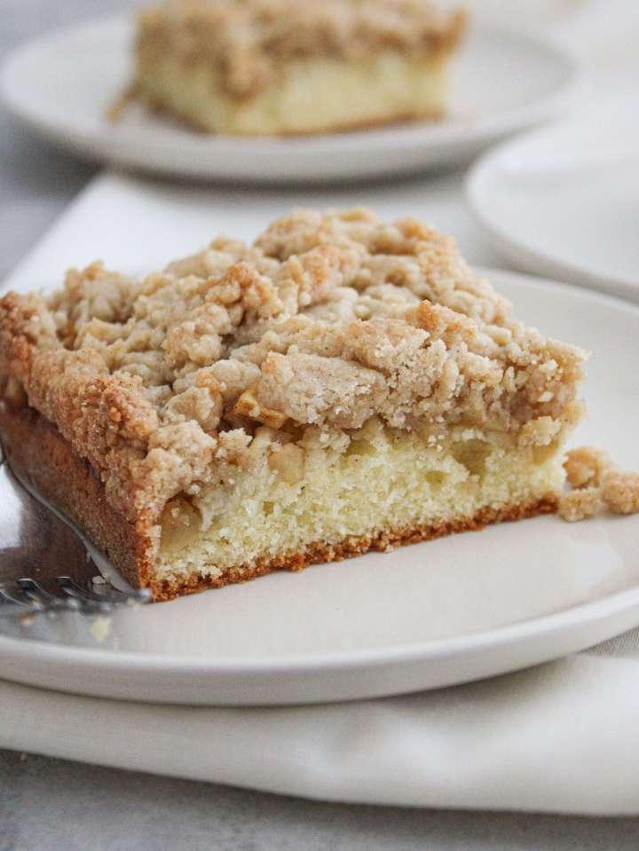 apple cake slice in plate