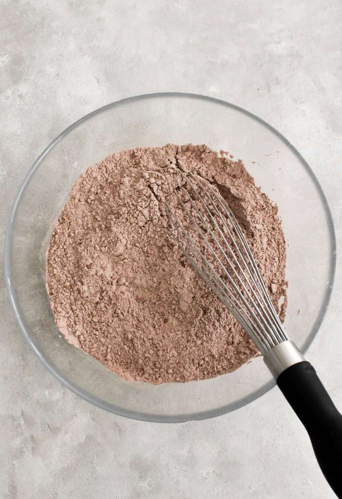 chocolate bundt cake dry ingredients whisked together in bowl