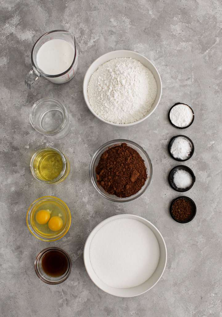 chocolate bundt cake ingrediens portioned into bowls