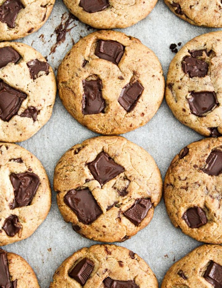 chocolate chip cookies on parchment paper overhead image