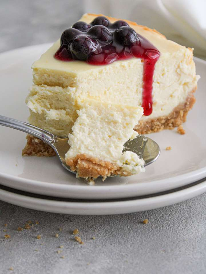 classic cheesecake topped with blueberry sauce in plate with bite on spoon
