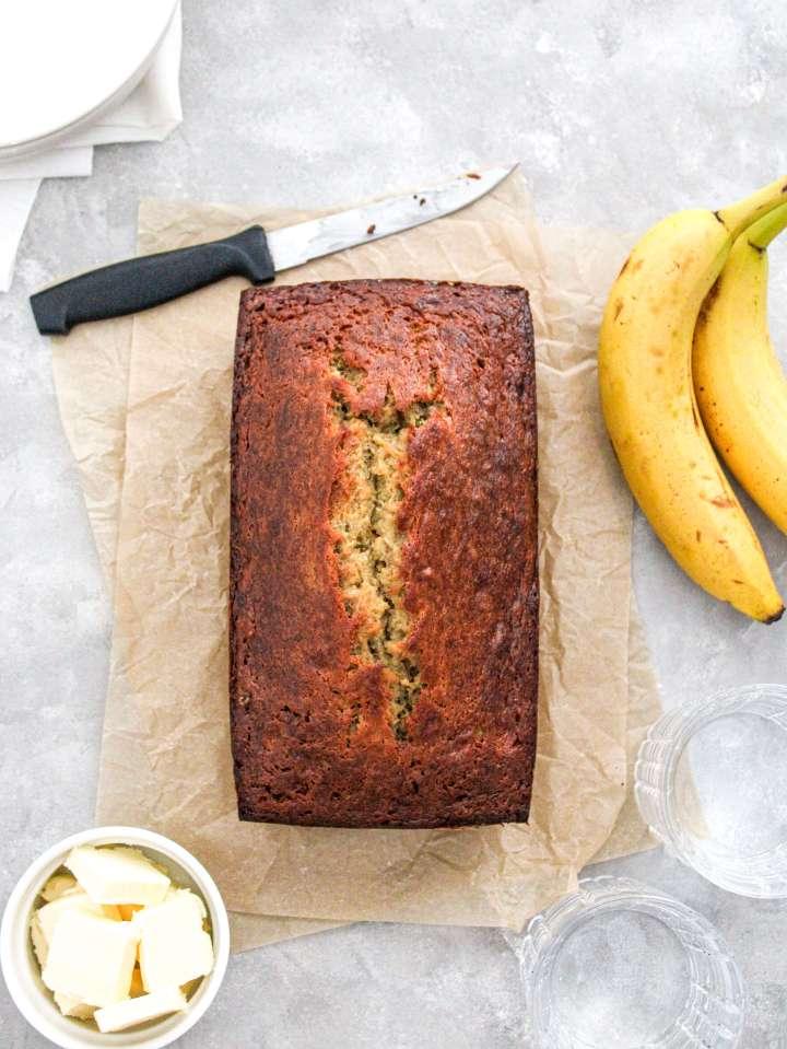 banana bread unsliced loaf overhead image