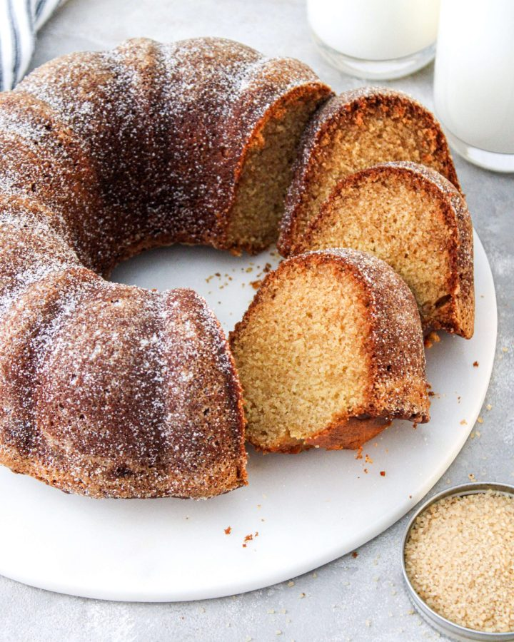brown sugar pound cake slices fanned out on serving platter