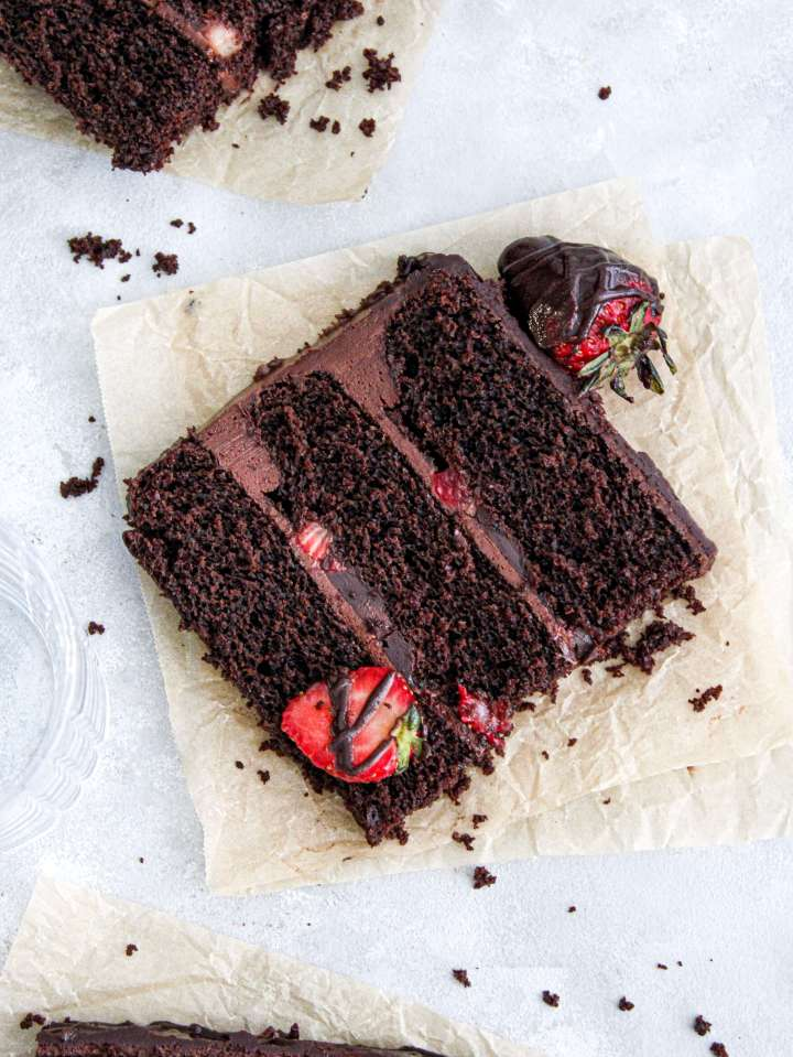 chocolate covered strawberry cake slice on parchment plate (2)