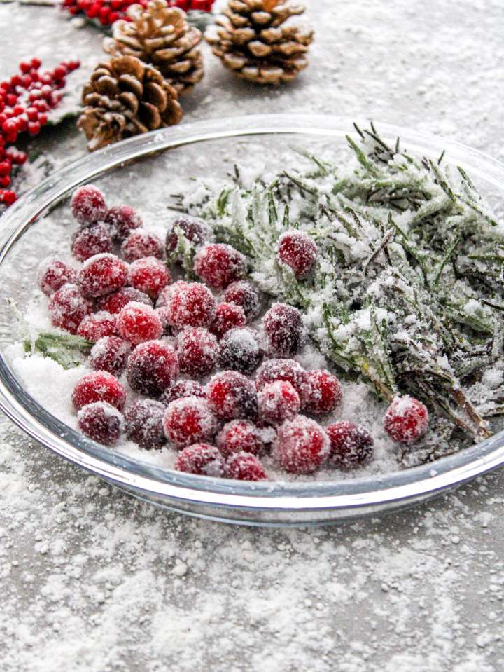 sugared cranberries and rosemary in plate side view