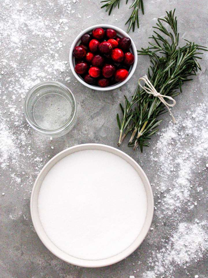 sugared cranberries and rosemary ingredients