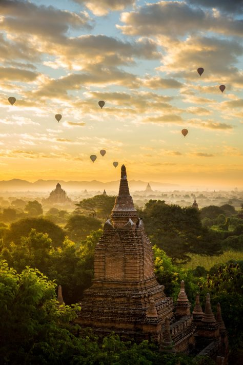 Bagan sunrise with a stupa