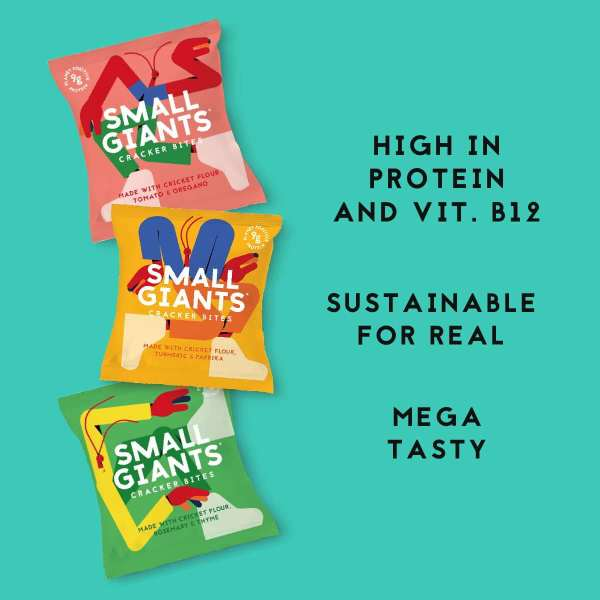 Small Giants Cricket Chips are made with cricket flour or cricket flour and are high in protein and vitamin b12