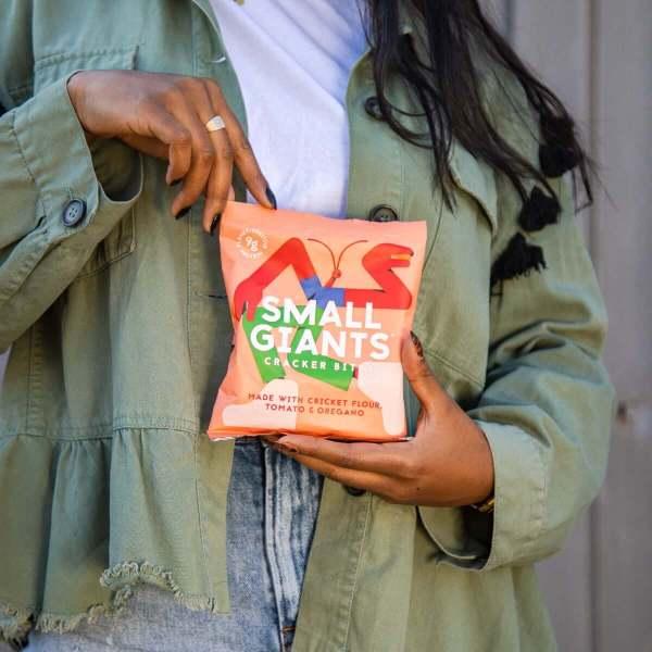 Small Giants Cricket Cracker Bites Tomato & Oregano are a sustainable snack