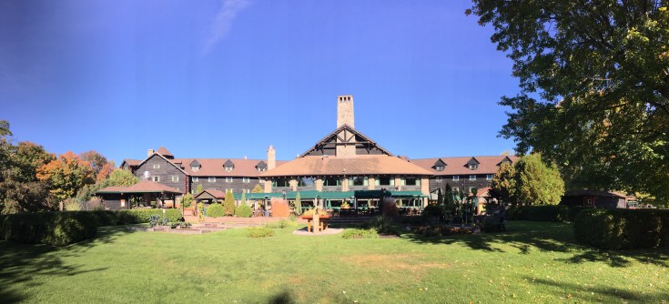 View of the world's largest log cabin from the river