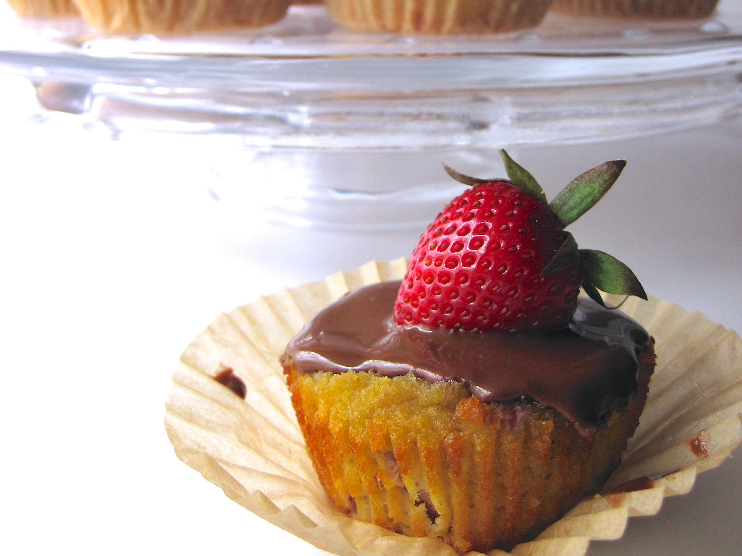 Strawberry Cupcakes with Simple Chocolate Frosting