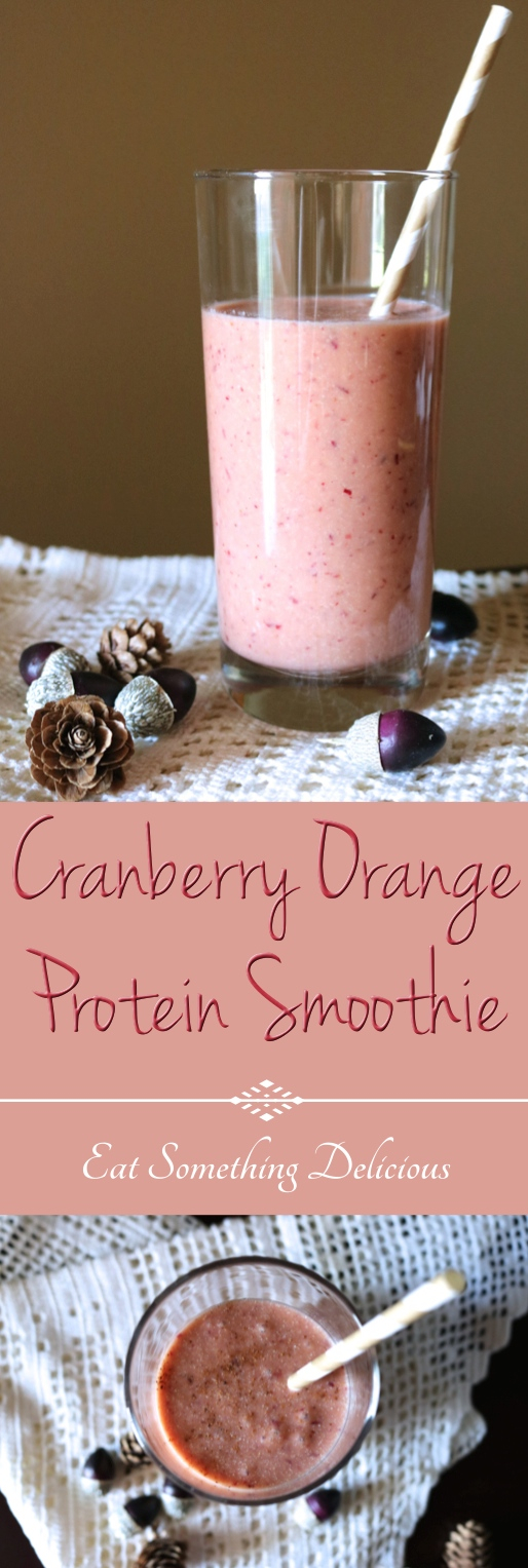 Cranberry Orange Protein Smoothie | This 5-minute smoothie incorporates one of my favorite fall flavors and includes a scoop of vanilla paleo protein. Sub your favorite whey or plant protein for vegetarian and vegan options. Instructions for both a Blendtec or everyday blender are included. | eatsomethingdelicious.com