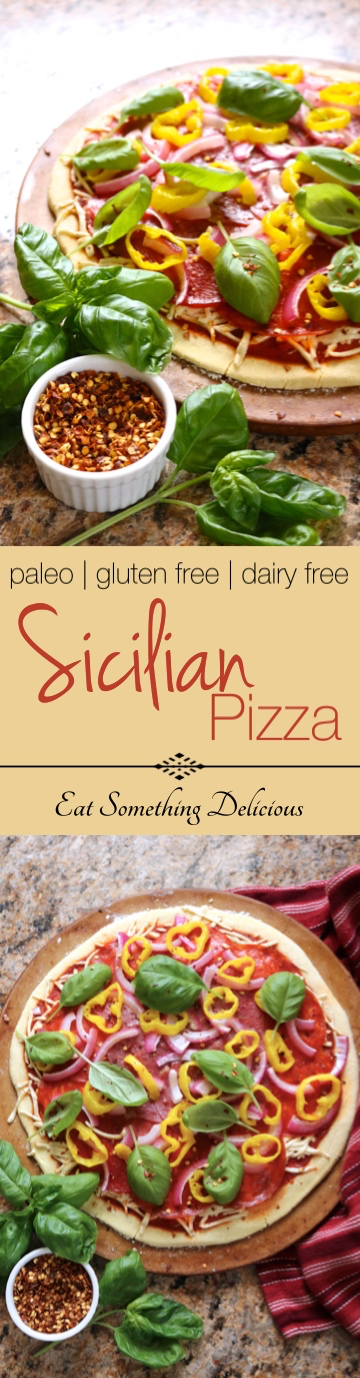 Paleo Sicilian Pizza | Pepperoni, salami, banana peppers, red onion, and fresh basil on a thin crust pizza made from my multi-purpose dough. Includes a dairy free option. | eatsomethingdelicious.com
