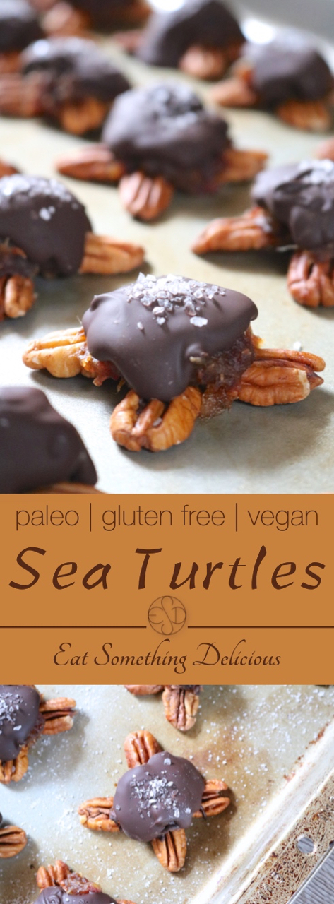 Sea Turtles | Turtle candies topped with sea salt are made dairy free by replacing the traditional caramel with a vegan-friendly caramel made from dates. | eatsomethingdelicious.com