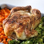 Roasted chicken and vegetables that are easy enough to make on a weeknight. Use frozen vegetables like sweet potato and broccoli to minimize prep work | eatsomethingdelicious.com