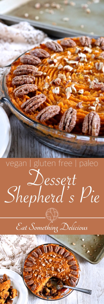 Dessert Shepherd's Pie | A twist on shepherd's pie fit for Thanksgiving dessert. Mashed sweet potatoes top a combination of apples and pecans tossed in spiced maple syrup. | eatsomethingdelicious.com