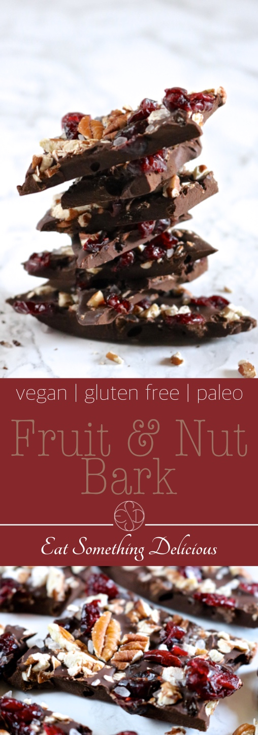Easy Fruit & Nut Bark | This easy fruit & nut bark is made in the microwave using your favorite chocolate, sea salt, and any dried fruits & nuts you have on hand. | eatsomethingdelicious.com