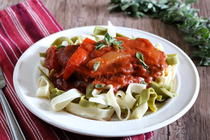 Instant Pot Swiss Steak | Easy swiss steak made in an Instant Pot and served over your choice of gluten free or paleo noodles, zoodles, or spaghetti squash. | eatsomethingdelicious.com