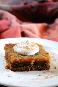 Pumpkin Pie Gooey Butter Cake | A fall version of the classic St. Louis dessert, this tastes like the perfect combination of pumpkin pie and gooey butter cake. Dairy free and gluten free. | eatsomethingdelicious.com
