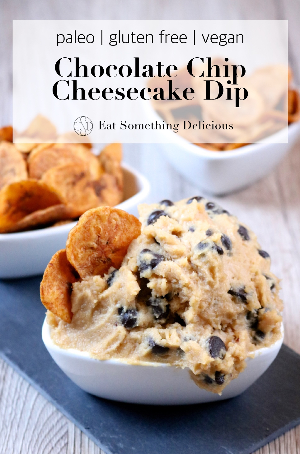 Chocolate Chip Cheesecake Dip | A dairy free, paleo, vegan version of chocolate chip cheesecake dip with cinnamon dusted plantain chips for dipping in place of graham crackers. | eatsomethingdelicious.com